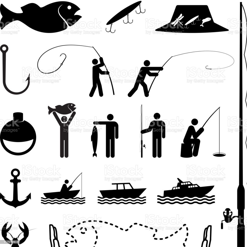 Let's go fishing black and white vector icon set royalty-free lets go fishing black and white vector icon set stock vector art & more images of achievement