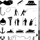 Let's go fishing black and white icon set