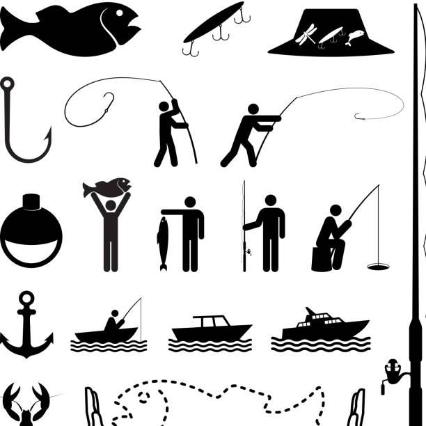 let's go angeln, schwarz und weiß, vektor icon-set - angelurlaub stock-grafiken, -clipart, -cartoons und -symbole