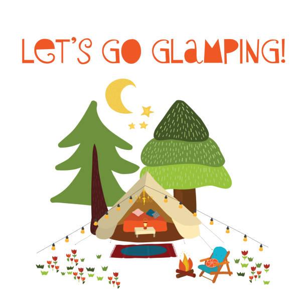 Lets go glamping - summer camping scene vector illustration. Boho teepee tent. Camp night scene vector art illustration
