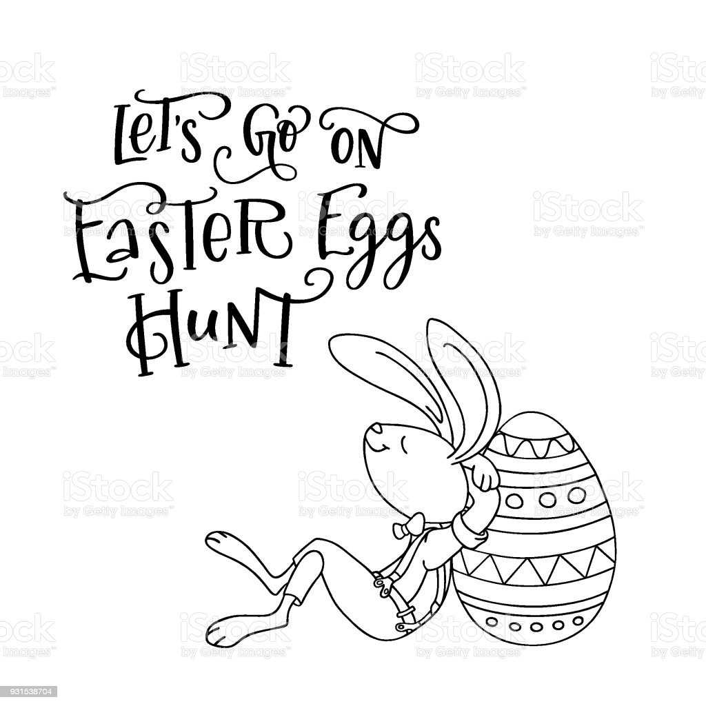 Letâs Go On Easter Eggs Hunt Handwritten Text And Fun Rabbit ...