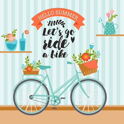 Let's go ride a bike. Awesome summer illustration in pastel colors. Vintage bicycle with floral basket. Cute bouquet in vases on shelves.