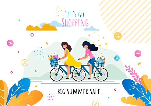 Lets Go Shopping on Summer Sale Motivation Banner