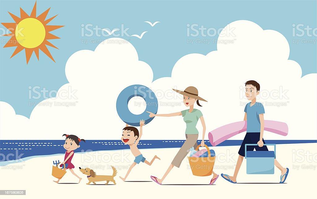 Let's go swimming in the ocean. vector art illustration