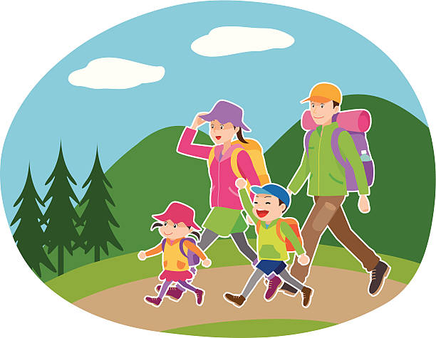 Lets Go To Hiking Vector Art Illustration