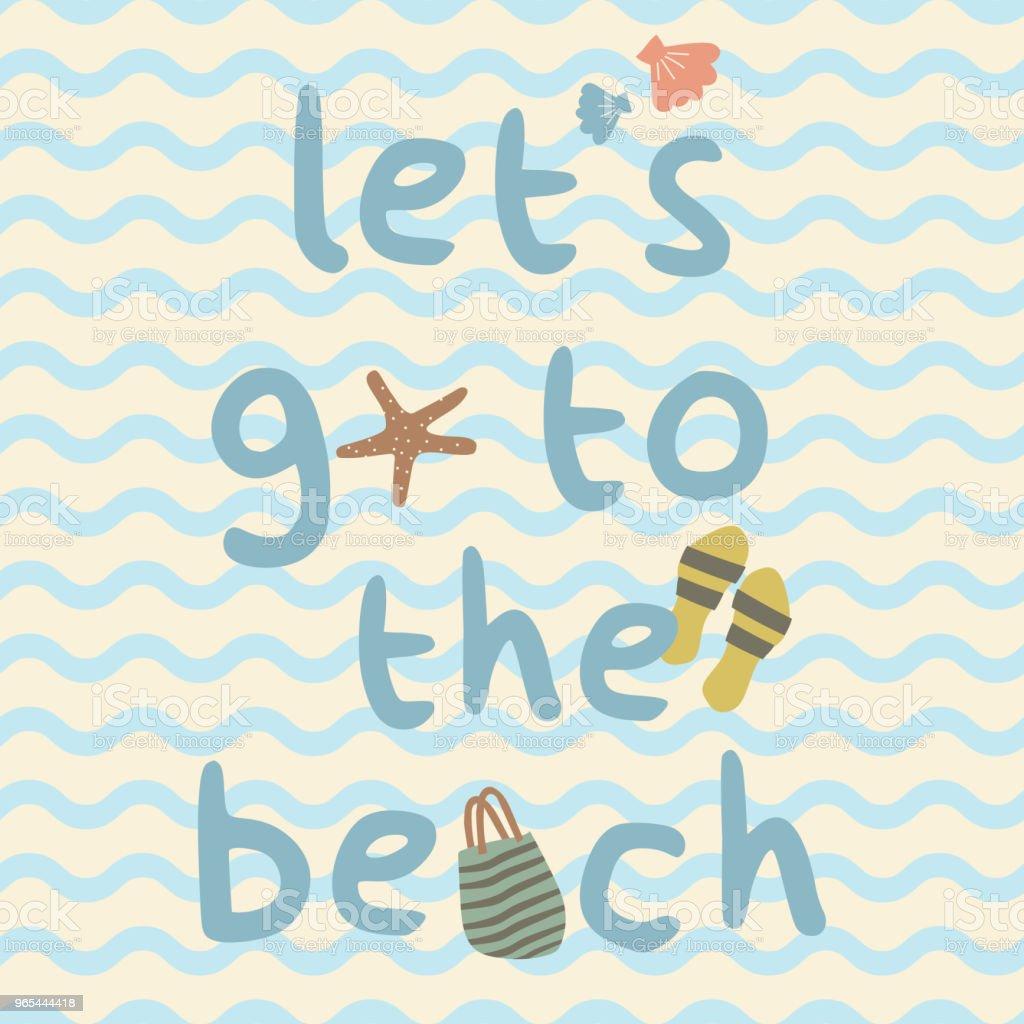 가방, 슬리퍼, 쉘, 불가사리 인쇄 포스터와 함께 해변에 갈 수 있습니다. - 로열티 프리 0명 벡터 아트