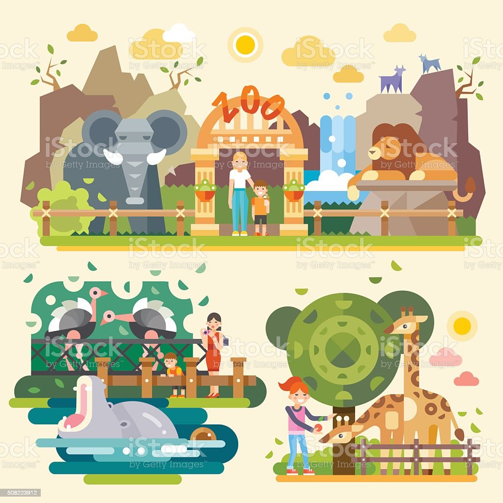 Let's go to the zoo! vector art illustration