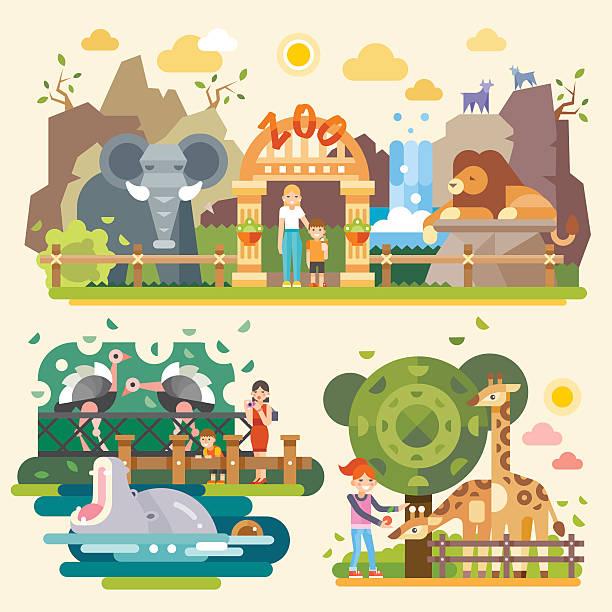 los geht's in den zoo! - tierfotografie stock-grafiken, -clipart, -cartoons und -symbole