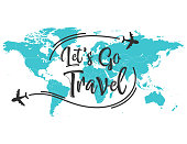 illustration of Let's go travel inscription quote