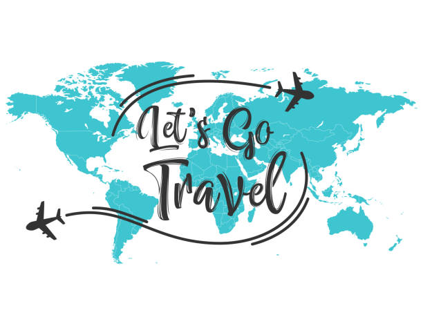 let's go travel inscription quote - turystyka stock illustrations