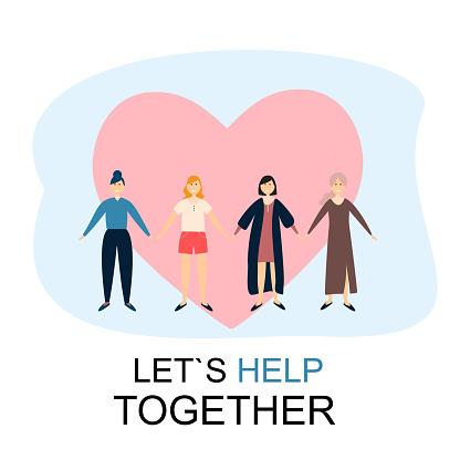 Let`s Help Together Women Friendship Concept Vector Illustration