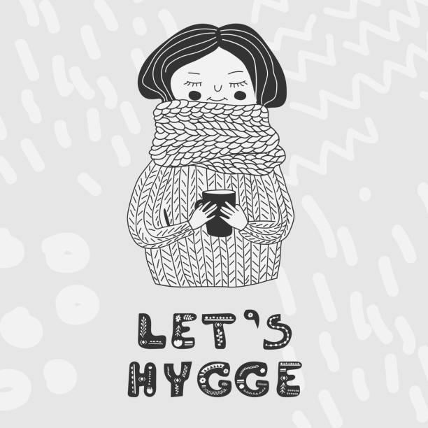 ilustrações de stock, clip art, desenhos animados e ícones de lets hygge card monochrome girl in sweater - hygge