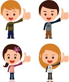 Make a LIKE ! A set of young people with a thumb up gesture.
