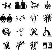 Let's Party Celebrate Hangout Vector Icon Set