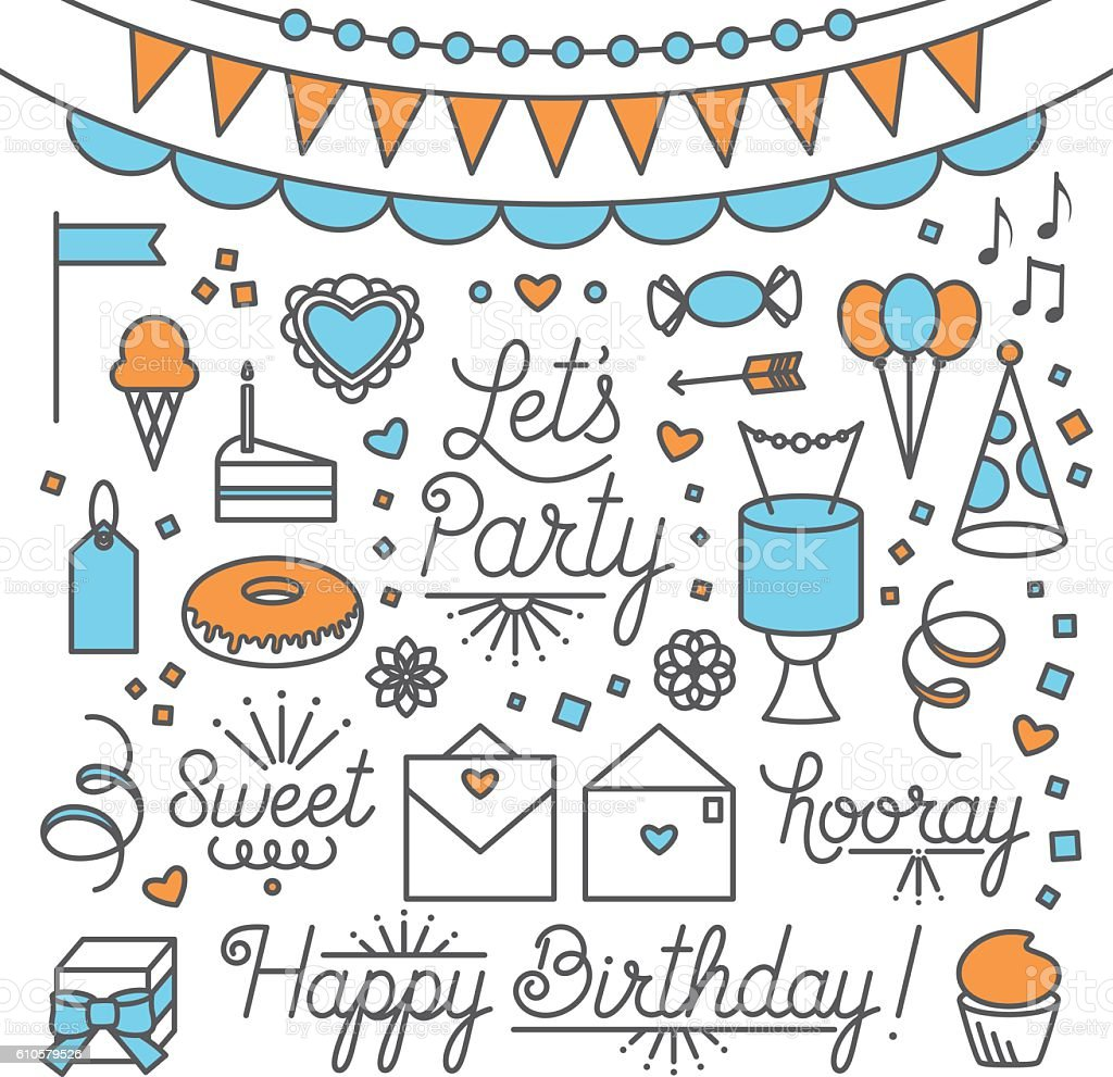 Let's Party Illustrations and Type vector art illustration