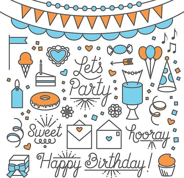ilustrações de stock, clip art, desenhos animados e ícones de let's party illustrations and type - balão enfeite