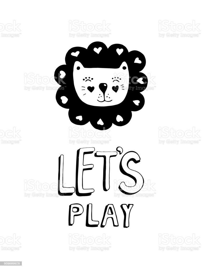かわいい手描き下ろし保育園子供赤ちゃんモノクロ ライオンとポスターを