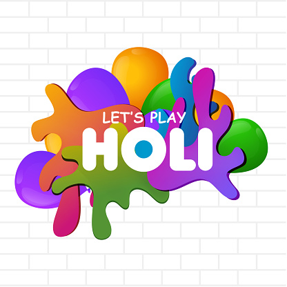 Let's play holi text on color splash background can be used as poster or template design.