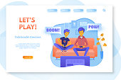 Let's play landing page layout. Boys playing video games illustration. Dad and child spending time together. Friends having online battle. Brothers holding joysticks clipart. Leisure time, pastime
