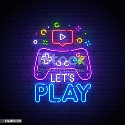 Let's Play neon sign, bright signboard, light banner. Game  symbol neon, emblem. Vector illustration.