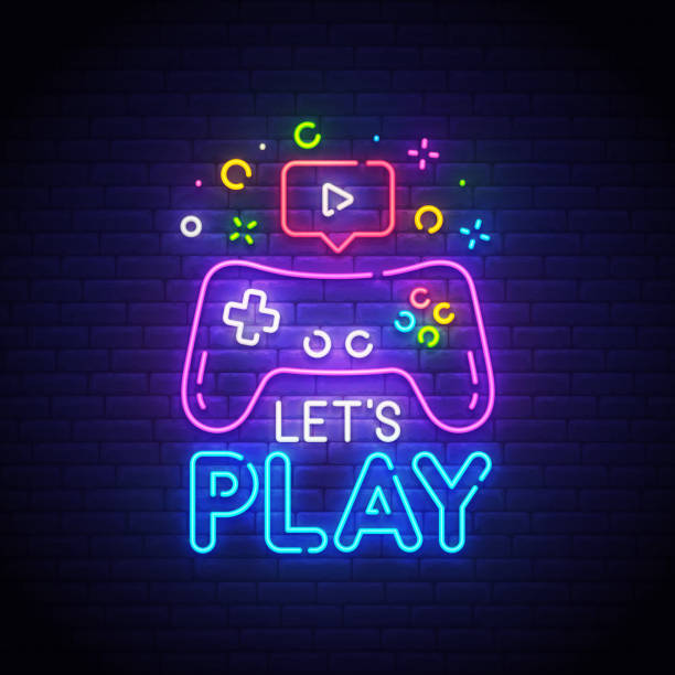 Let's Play neon sign, bright signboard, light banner. Game  symbol neon, emblem. Vector illustration Let's Play neon sign, bright signboard, light banner. Game  symbol neon, emblem. Vector illustration. video game stock illustrations