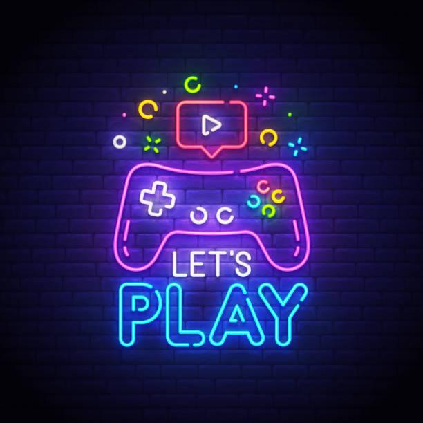 neon tabelada, parlak tabela, ışık bayrağı oynayalım. oyun sembolü neon, amblem. vektör illüstrasyon - gaming stock illustrations