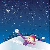 Cute girl playing snowballs on Christmas eve.
