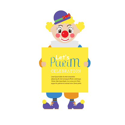 let's  Purim celebrate. Jewish holiday. clown holding greeting poster
