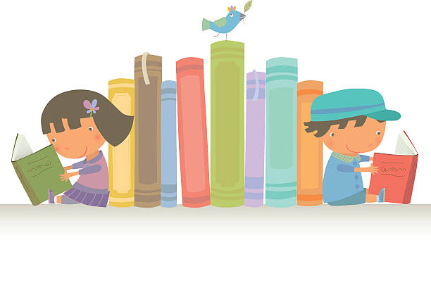 stockillustraties, clipart, cartoons en iconen met let's read together - a little girl reading a book