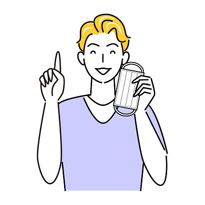 Let's remove the mask when you can remove it for heat stroke and rough skin measures Illustration simple vector For heat stroke and rough skin prevention measures proposing with a smile on the pointing pose. Let's remove the mask whe