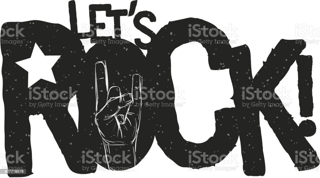 Lets Rock Typographic Design vector art illustration