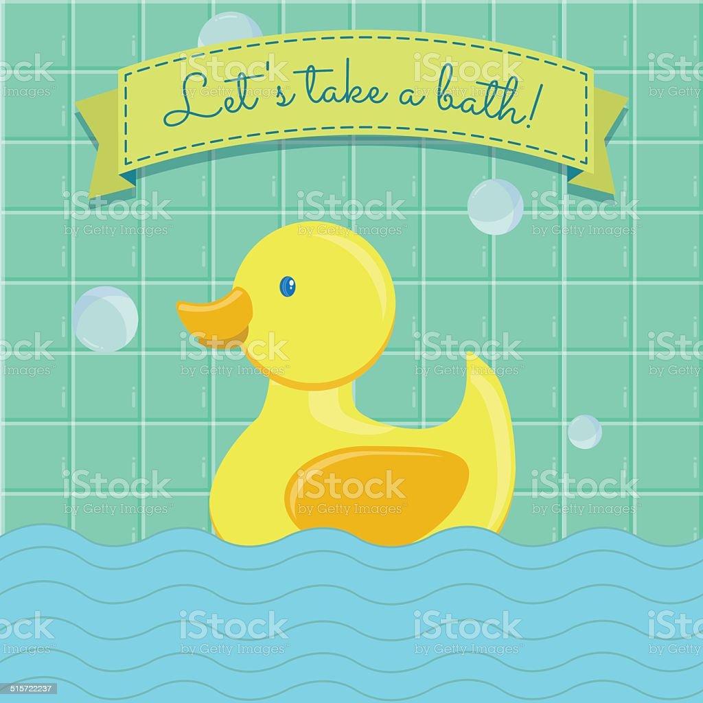 Let's take a bath vector art illustration