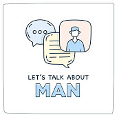 Let's talk about man doodle illustration dialog speech bubbles with icon.