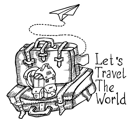 Let's Tavel The World, doodle vector