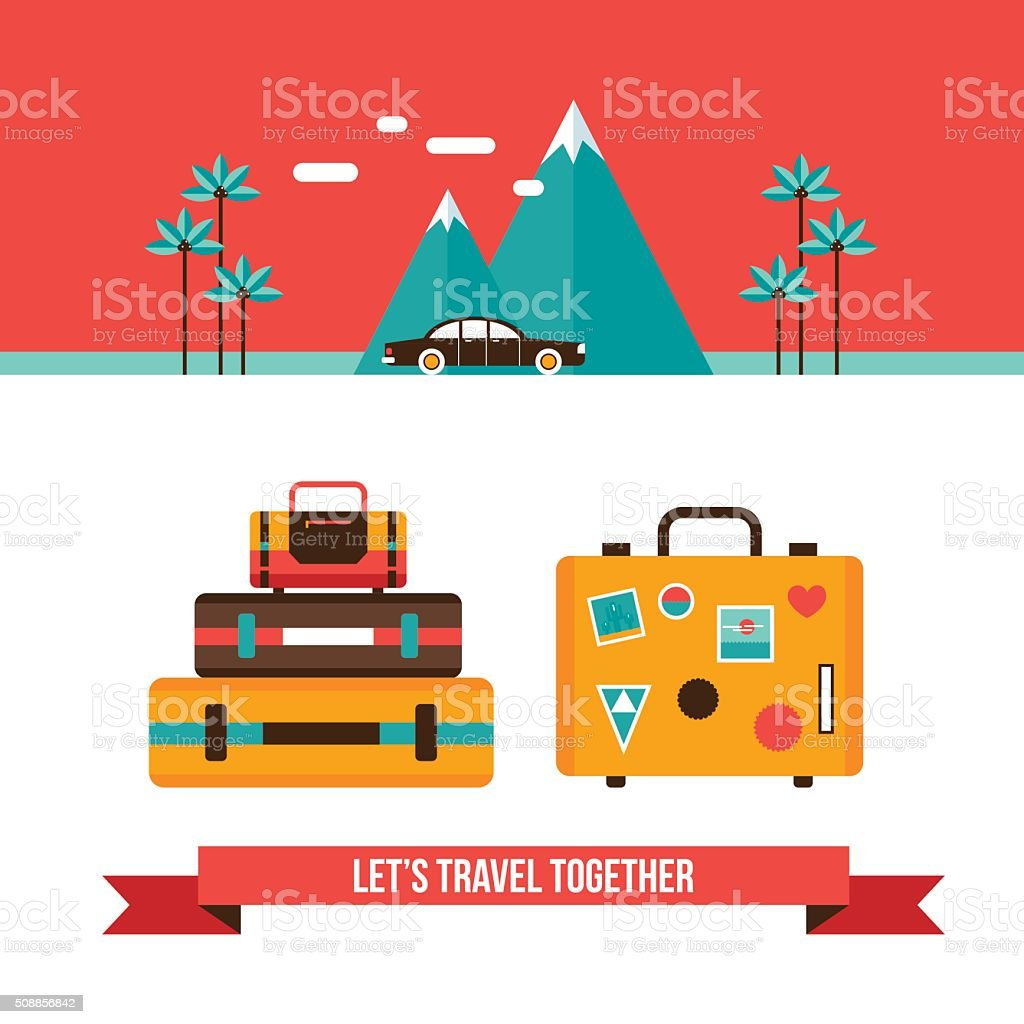 Lets travel background with suitcases bag Summer vacation concept vector art illustration