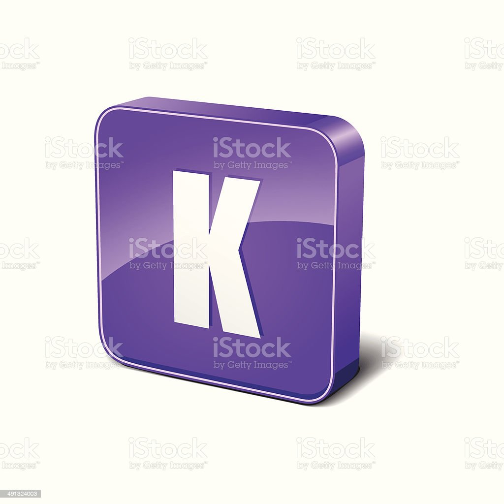 K Letter 3d Rounded Corner Purple Vector Icon Button royalty-free stock vector art