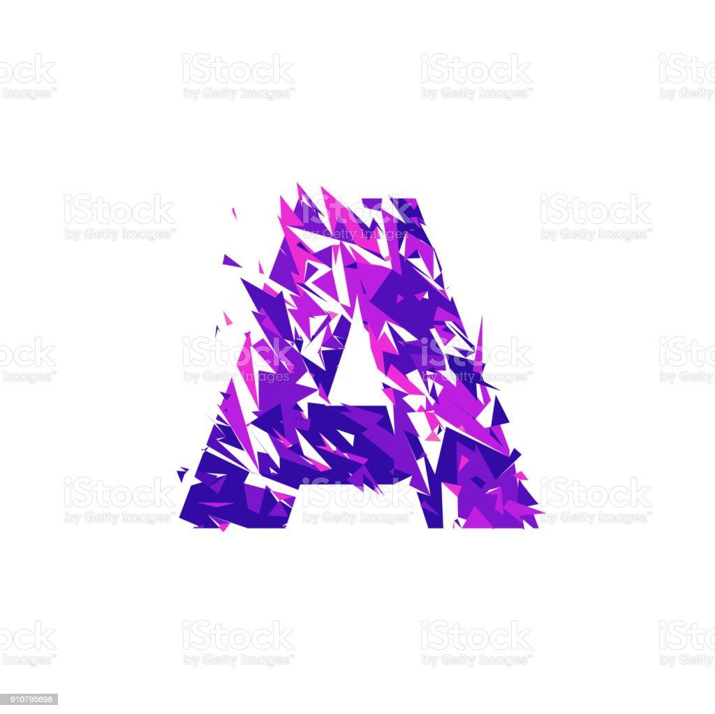 Letter A, broken into a splinters. vector art illustration
