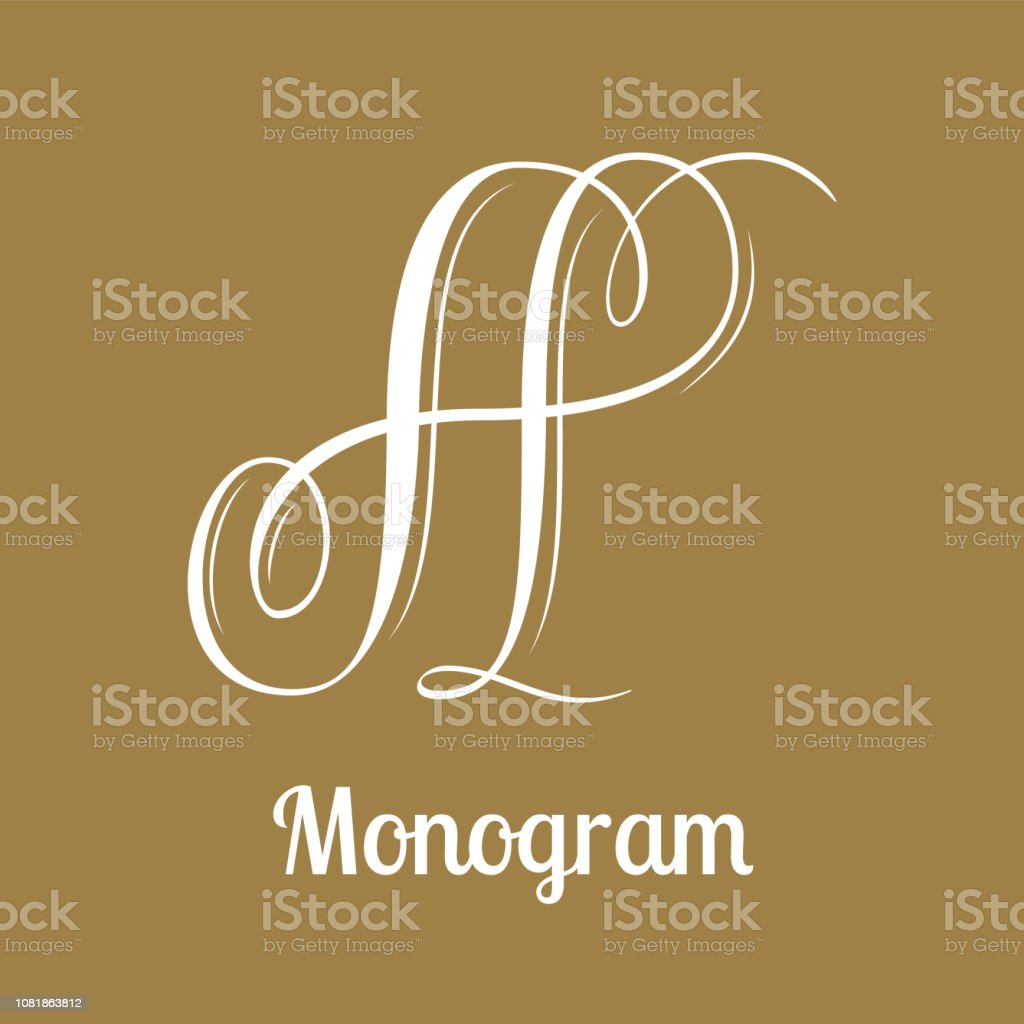 Letter A - calligraphy monogram design vector art illustration