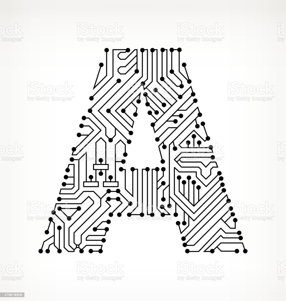 letter a circuit board on white background stock vector art  u0026 more images of black and white