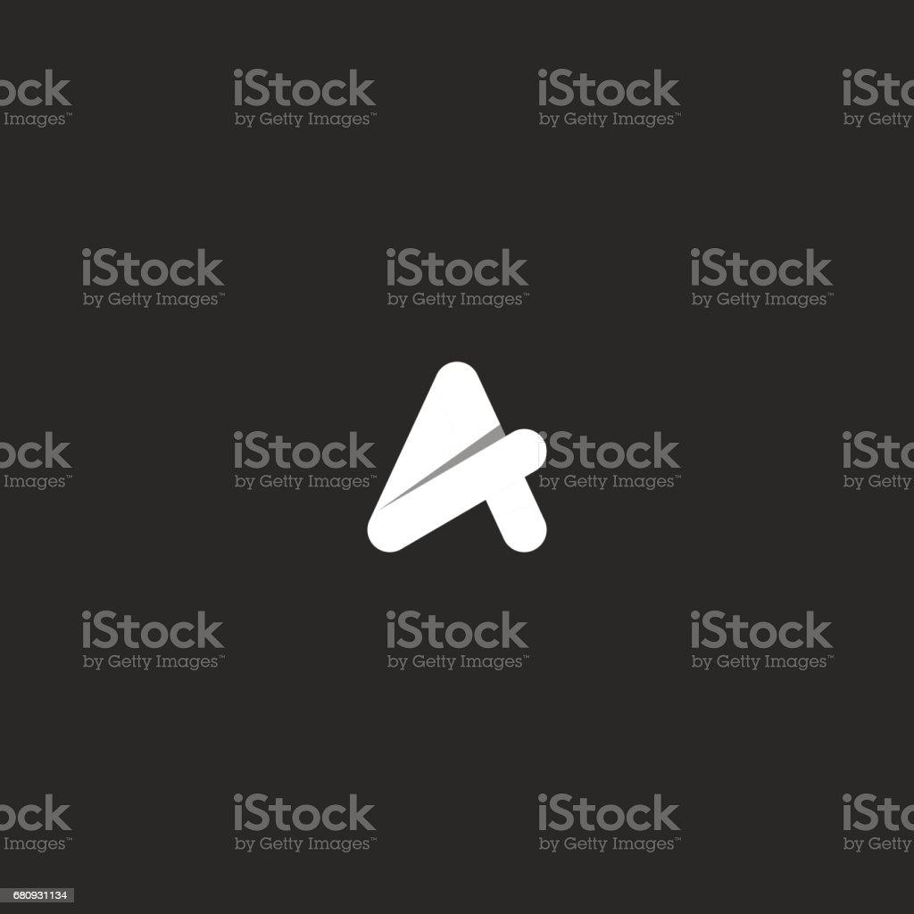 Bir yaratıcı siyah ve beyaz tasarım vektör şablonu mektup. Fikir basit kavşak geometrik şekli düzgün amblemi gölge ile. vektör sanat illüstrasyonu