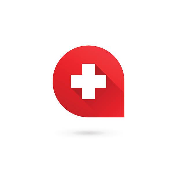 illustrazioni stock, clip art, cartoni animati e icone di tendenza di lettera un croce e icona modello elementi di progettazione - croce farmacia