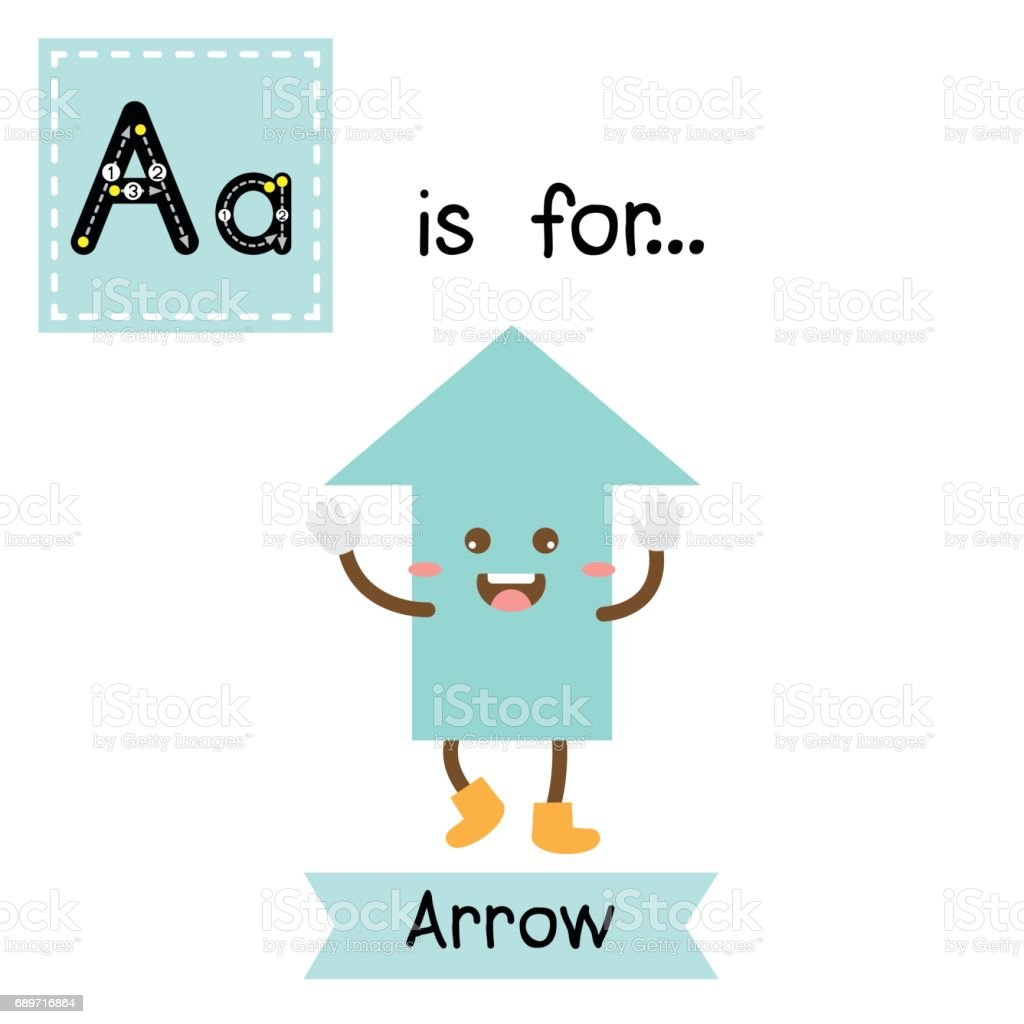 Letter A Cute Children Colorful Geometric Shapes Alphabet Tracing ...