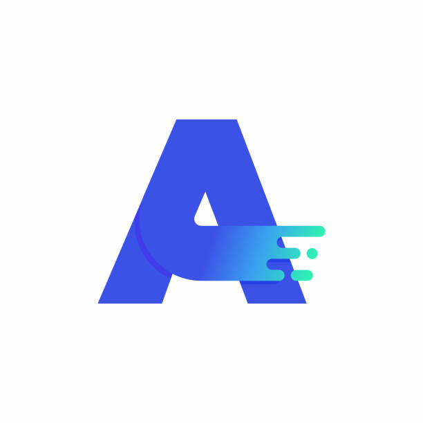 Letter A Design Vector In Blue Green Gradient vector art illustration