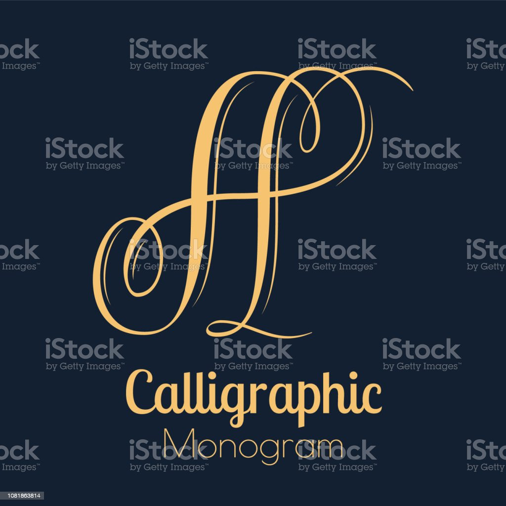 Letter A - elegant copperplate monogram design vector art illustration