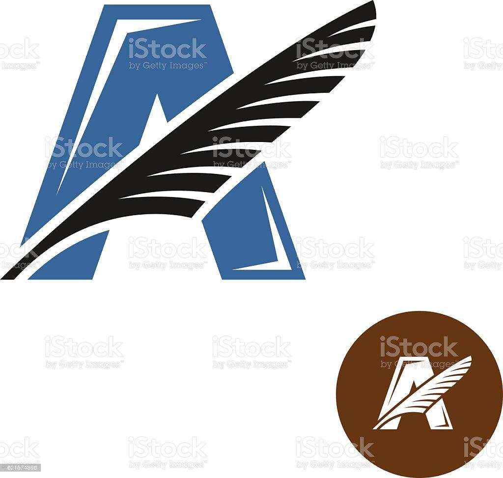 Letter A elegant logo with feather. Writers club concept. letter a elegant logo with feather writers club concept – cliparts vectoriels et plus d'images de abstrait libre de droits