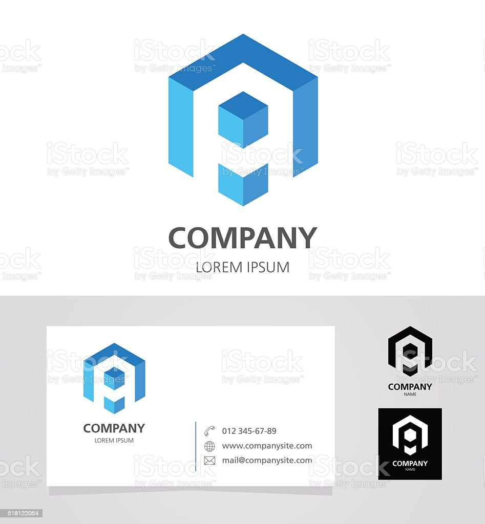 Letter A - Emblem Design Element with Business Card - illustration vektör sanat illüstrasyonu