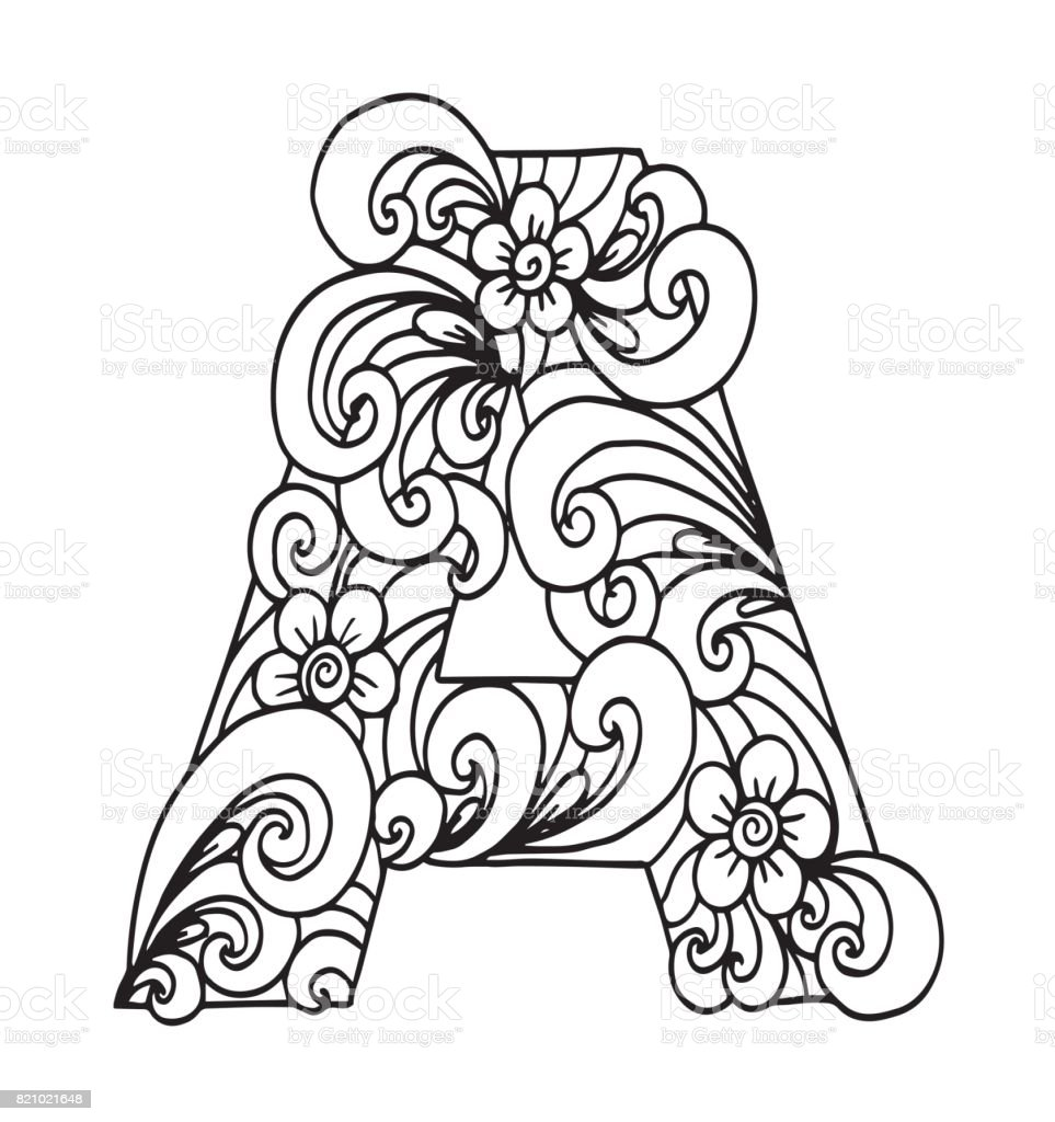 Letter A For Coloring Vector Decorative Object Illustration Computer