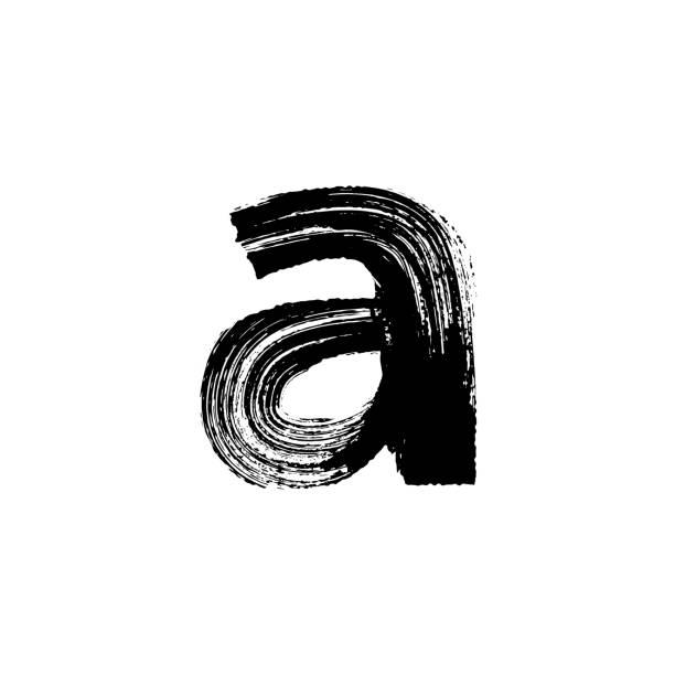 ilustrações de stock, clip art, desenhos animados e ícones de letra de mão desenhada com uma escova seca. em minúsculas - japanese font