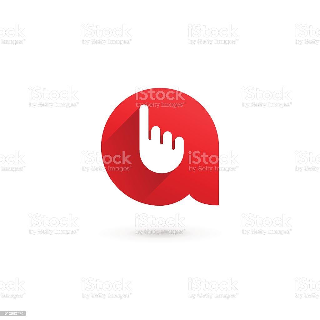 Letter A hand icon design template elements vektör sanat illüstrasyonu