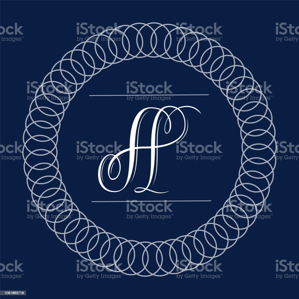 Letter A - hand lettering design in copperplate style vector art illustration